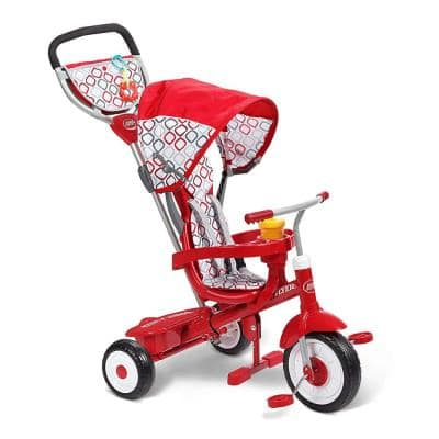 Ultimate 4-in-1 Stroll 'N Trike Ride On with 3-Point Harness, Red