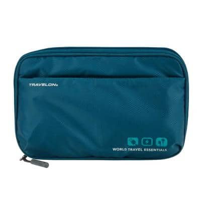 World Travel Essentials Peacock Teal Tech Accessory Organizer