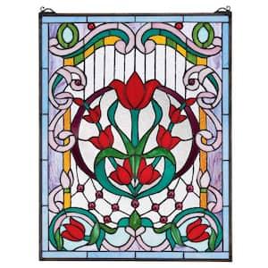 Tulip Treasure Tiffany-Style Stained Glass Window Panel