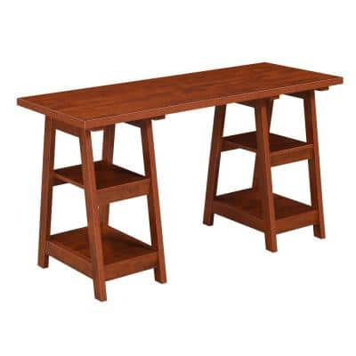 Designs2Go Cherry 54 in. W Rectangular Cherry Wood Writing Desk With Double Trestle