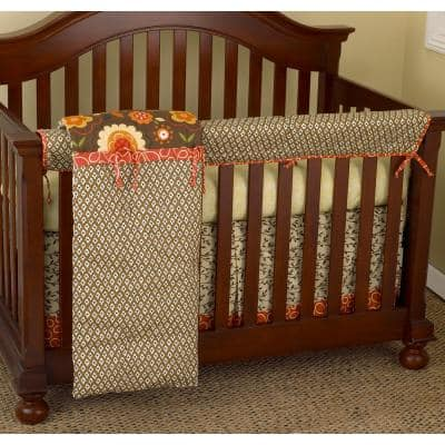 Peggy Sue Cotton Floral Front Crib Rail Cover Up