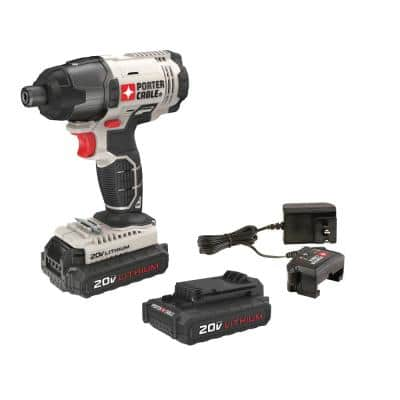 20-Volt MAX Lithium-Ion Cordless 1/4 in. Impact Driver with 2 Batteries 1.3 Ah and Charger