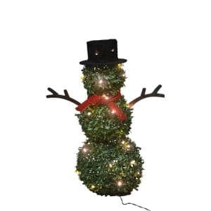 28 in. Topiary Snowman 40 Lights Knock Down