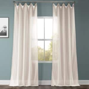 Beige Solid Rod Pocket Sheer Curtain - 50 in. W x 108 in. L