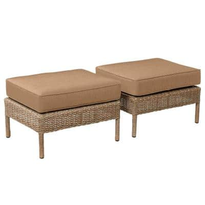 Lemon Grove Wicker Outdoor Patio Ottoman with Standard Toffee Solid Cushions (2-Pack)