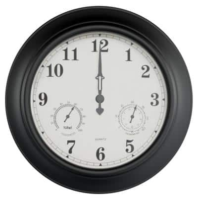 18 in. Black Thermometer and Hygrometer Indoor/Outdoor Quartz Wall Clock