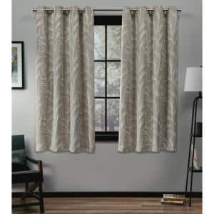 Kilberry Natural 52 in. W x 63 in. L Grommet Top Room Darkening Black Out Curtain Panel (Set of 2)