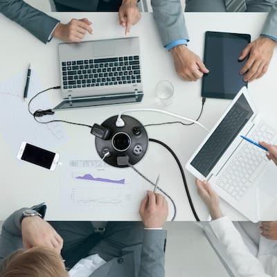 Designer 6 ft. 4-Outlet Black USB Surge Protector Desktop Power Strip Hub