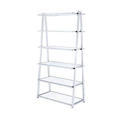 71 in. White/Chrome Metal 6-shelf Ladder Bookcase with Open Back