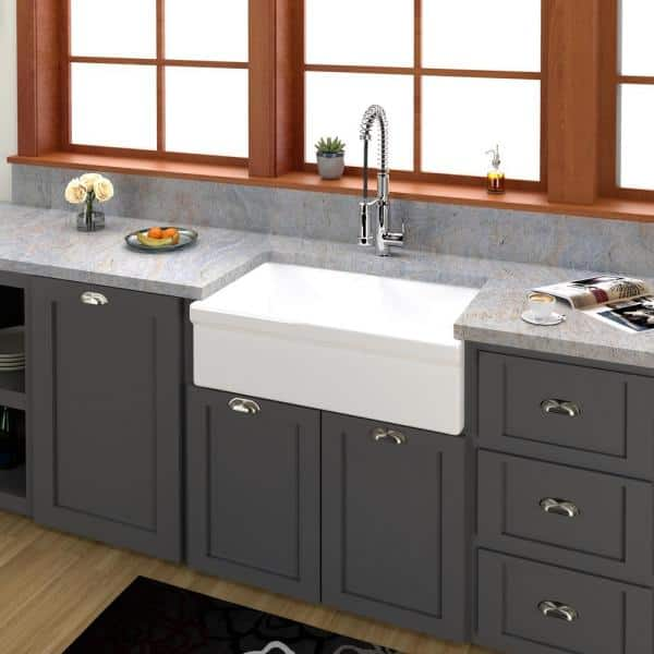 Barclay Products Lettie Farmhouse Apron Front Fireclay 33 In 50 Double Bowl Kitchen Sink Bisque Fsdb1504 Bq The Home Depot