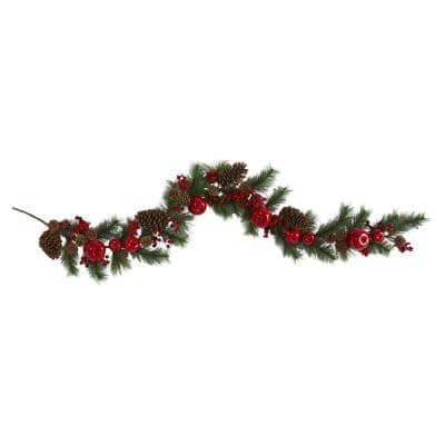 6 ft. Unlit Apple Artificial Garland Pine Cone and Berries