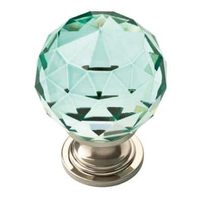 1-3/16 in. (30mm) Satin Nickel and Dark Teal Faceted Glass Cabinet Knob