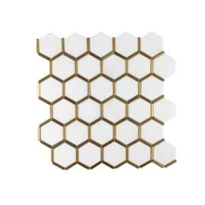 Karats White 10.625 in. x 11.125 in. Hexagon Polished Marble/Gold Metal Floor and Wall Mosaic Tile (0.820 sq. ft./Each)