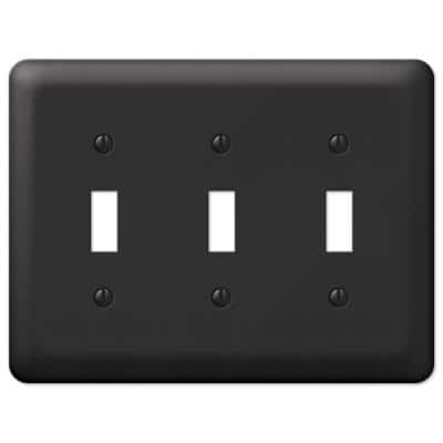 Declan 3 Gang Toggle Steel Wall Plate - Black