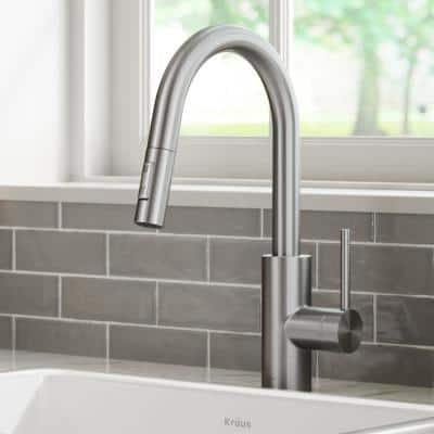Oletto Spot Free Stainless Steel Finish Dual Function Pull Down Kitchen Faucet