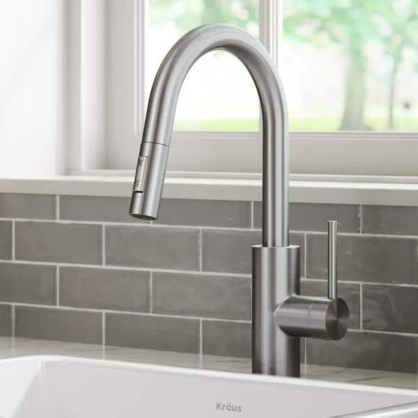 KRAUS Oletto Spot Free Stainless Steel Finish Dual Function Pull Down Kitchen Faucet