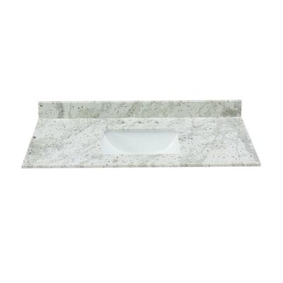 43 in. W x 22 in. D x .75 H Granite Vanity Top in Glacier White with White Basin