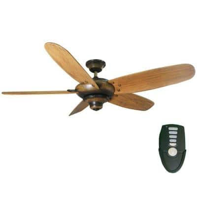 Altura 56 in. Indoor Gilded Espresso Dry Rated Ceiling Fan with Downrod, Remote Control and Reversible Motor