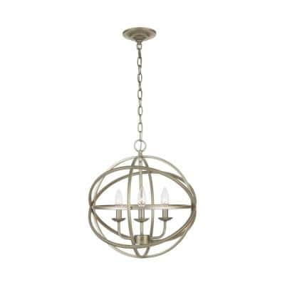 Sarolta Sands 3-Light Antique Silver Orb Chandelier
