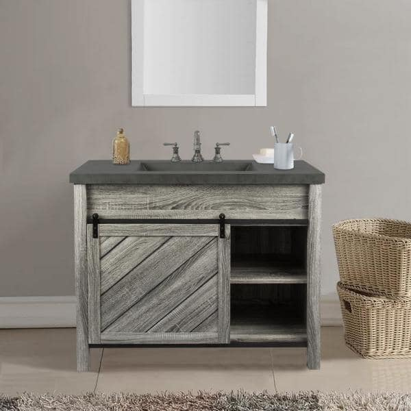 S Dente Lennox 42 In W X 21 In D Bath Vanity In Gray Wood Grain With Faux Cement Top In Gray With Grey Basin Ibv005cm The Home Depot