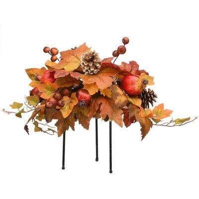 13 in. Height Artificial Harvest Maple Leaves Urn Filler