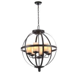 Sfera 6-Light Autumn Bronze Rustic Globe Hanging Candlestick Chandelier with Cafe Tint Glass