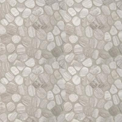 White Oak River Rock 12 in. x 12 in. x 10 mm Textured Marble Mesh-Mounted Mosaic Tile (10 sq. ft. / case)