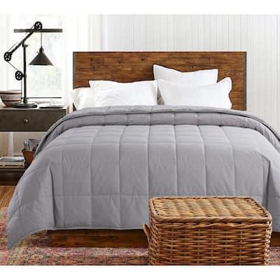 Cozy Down Reversible Glacier Grey Cotton King Blanket