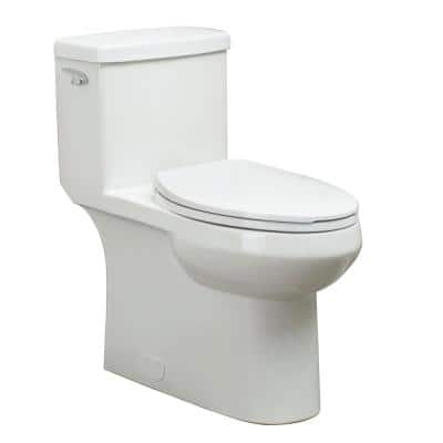 1-Piece 1.28 GPF Single Flush Elongated Toilet FM trim in White with Slow Close Toilet Seat Included