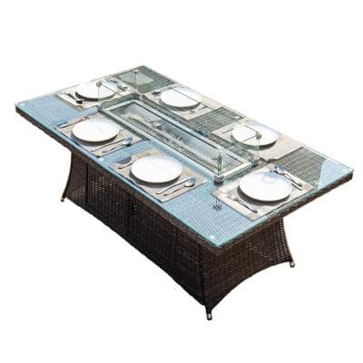 Firefly Brown Wicker Rectangular Propane Fire Pit Table with Tempered Glass Surround