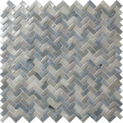 Apollo Tile 10 Pack 11.8-in x 11.9-in Blue Gray Herringbone Matte Finished Glass Mosaic Floor and Wall Tile