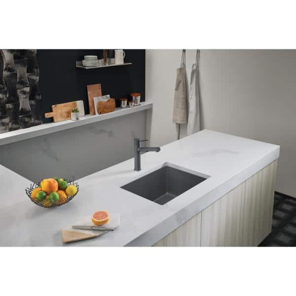 Blanco Precis Undermount Granite Composite 24 In Single Bowl Kitchen Sink Cinder 522412 The Home Depot