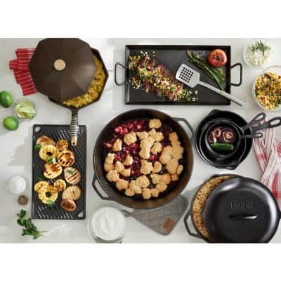 Cast Iron Collection 12 in. Cast Iron Skillet in Black with Lid