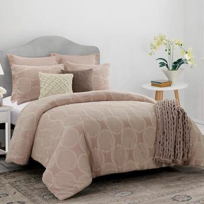 Leon 3-Piece Blush Cotton King Comforter Set