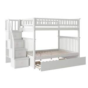 Columbia Staircase Bunk Bed Full over Full with Full Size Urban Trundle Bed in White