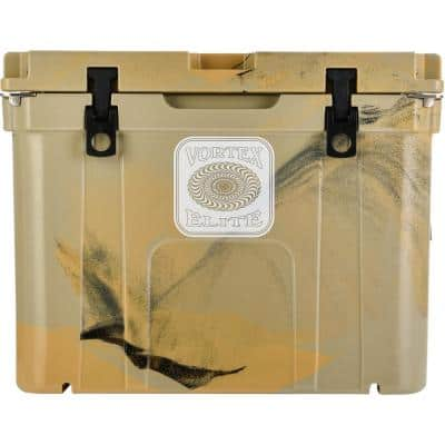 Elite 55 Qt. Wheel-Kit Ready Rotational-Molded Customizable Cooler System in Tan