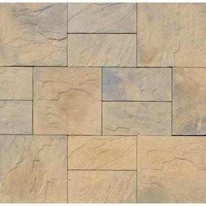 Patio-on-a-Pallet 10 ft. x 10 ft. Concrete Tan Variegated Basket weave Yorkstone Paver (37 Pieces/100 Sq. Ft)