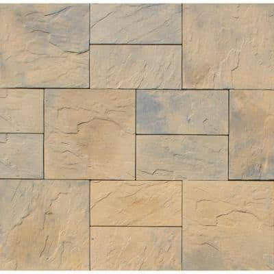 Patio-on-a-Pallet 10 ft. x 10 ft. Concrete Tan Variegated Basket weave Yorkstone Paver (37 Pieces/100 Sq. Ft)