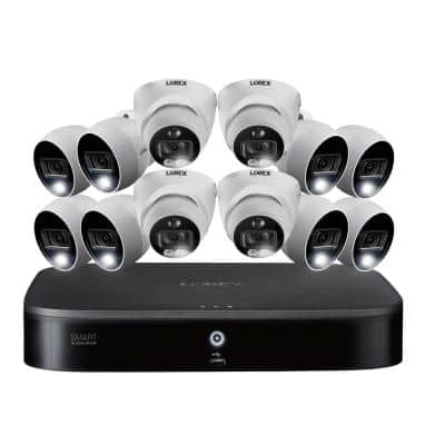 16-Channel 4K Ultra HD DVR 3TB HDD Security Camera System with 12 Wired 4K Active Deterrence Cameras