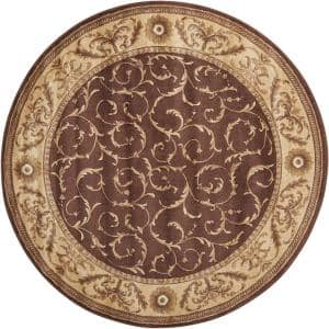 Somerset Brown 6 ft. x 6 ft. Persian Vintage Round Area Rug