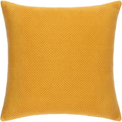 Jillayne Mustard Solid Hand Woven Texture Polyester Fill 18 in. x 18 in. Decorative Pillow