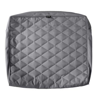 Montlake FadeSafe 25 in. W x 22 in. H x 4 in. T Grey Quilted Wide Back Lounge Cushion Slipcover