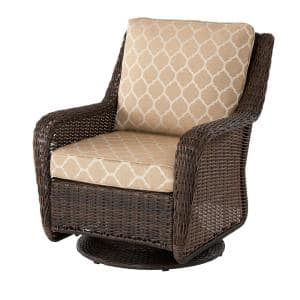 Cambridge Brown Wicker Outdoor Patio Swivel Rocking Chair with CushionGuard Toffee Trellis Tan Cushions