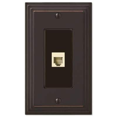 Tiered 1 Gang Phone Metal Wall Plate - Aged Bronze