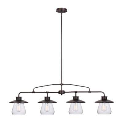 Nate 4-Light Oil Rubbed Bronze Pendant with Clear Glass Shades