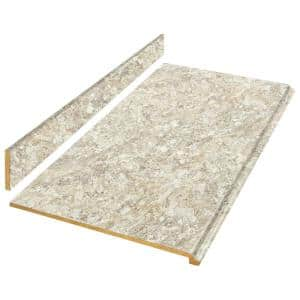 8 ft. Beige Laminate Countertop Kit with Full Wrap Ogee Edge in Spring Carnival Granite