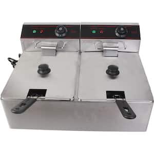 5000-Watt Electric Countertop Deep Fryer Dual Tank Commercial Restaurant Steel