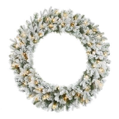 36 in. Starry Light Pine Pre-Lit LED Flocked Artificial Christmas Wreath with 70 White Lights and Timer