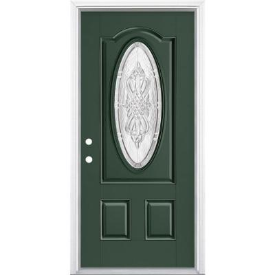 36 in. x 80 in. New Haven 3/4 Oval Right-Hand Inswing Painted Smooth Fiberglass Prehung Front Exterior Door w/ Brickmold