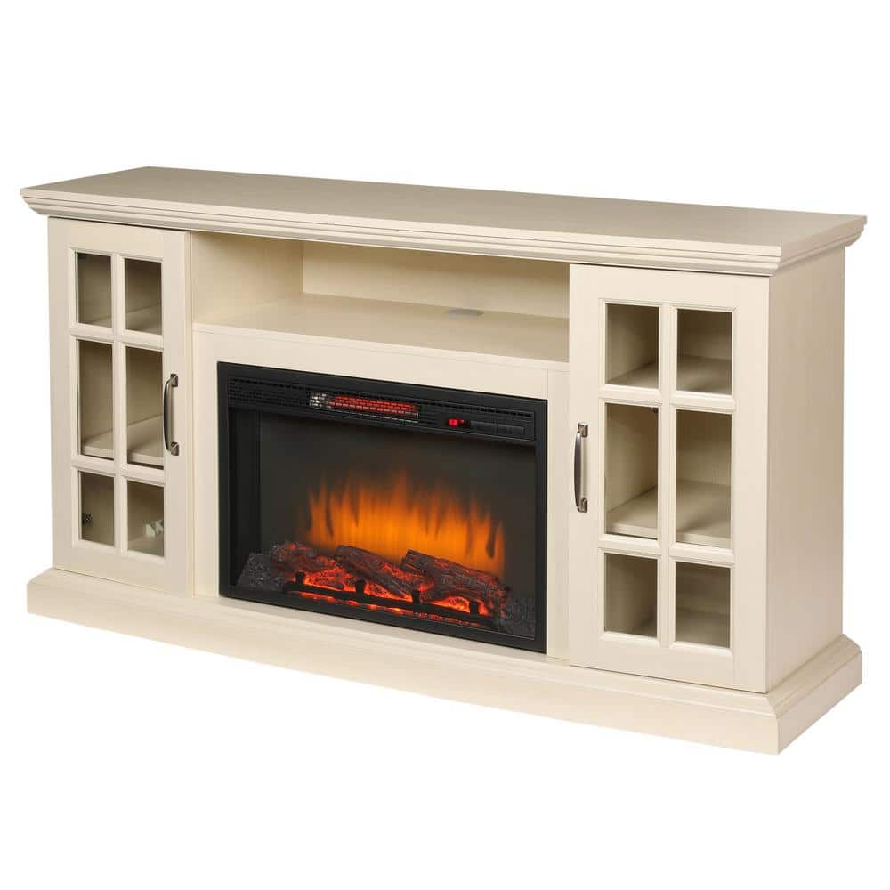 Reviews For Home Decorators Collection Edenfield 59 In Freestanding Infrared Electric Fireplace Tv Stand In Aged White 365 302 165 Y The Home Depot